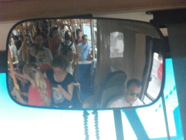 Standing room only on the free hop-on/hop-off bus