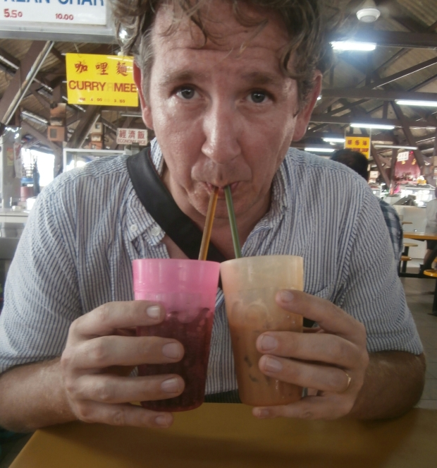 Rand enjoying his first drink of the Holy Cow.